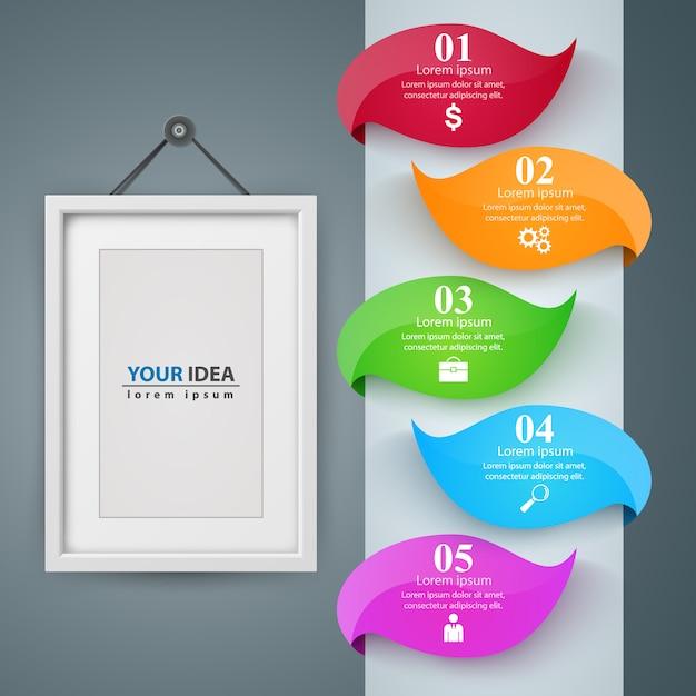 Cadre, modèle infographique de l'entreprise de papier Vecteur Premium