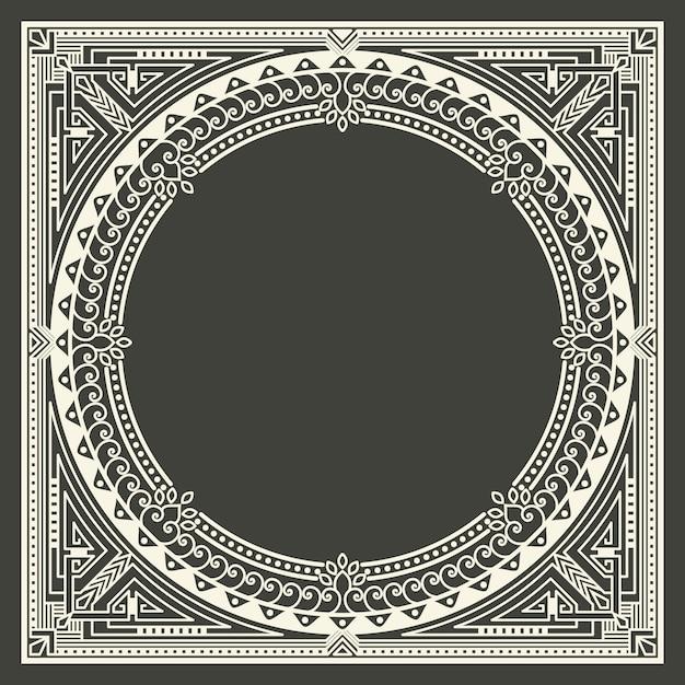 Cadre monogramme floral et géométrique sur fond gris foncé. élément de conception de monogramme. Vecteur gratuit