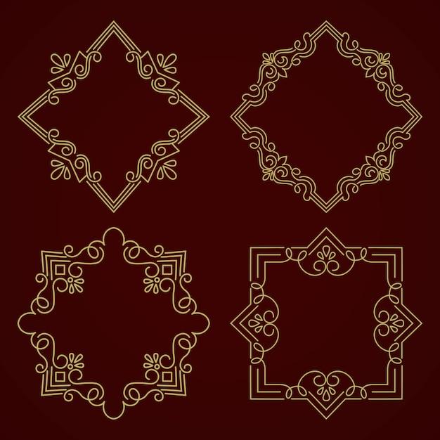 Cadre Monogramme Floral Et Géométrique Sur Fond Gris Foncé Vecteur gratuit