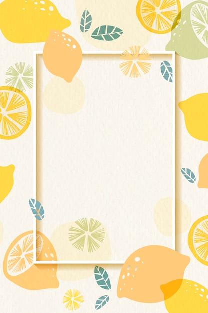 Cadre à motifs citron Vecteur gratuit