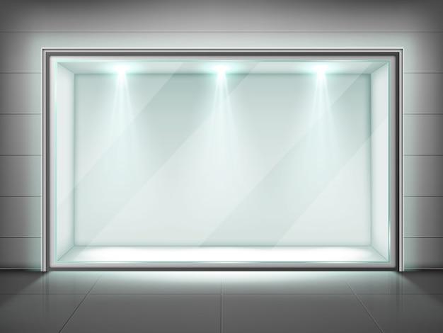 Cadre Mural En Verre, Vitrine Transparente Avec Lumière Vecteur gratuit
