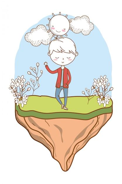 Cadre nature tenue garçon dessin animé Vecteur Premium
