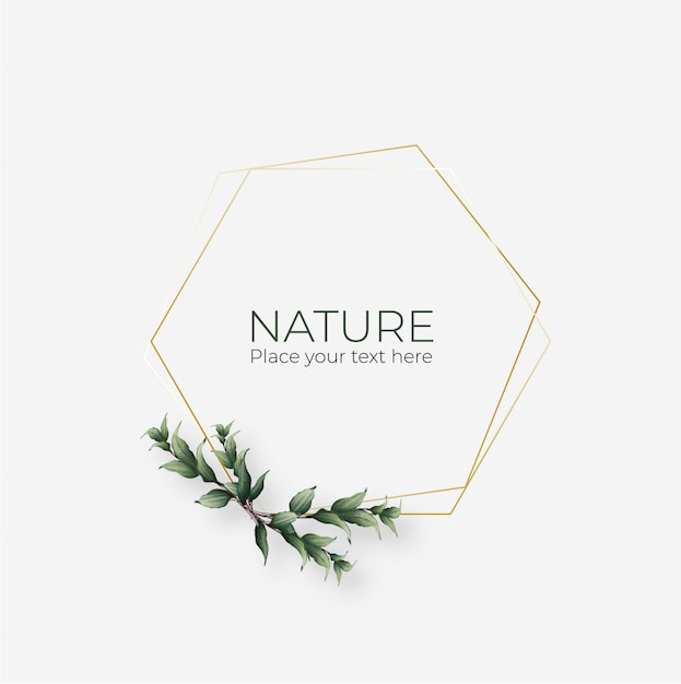 Cadre Naturel Avec Cadre Géométrique Doré Vecteur gratuit