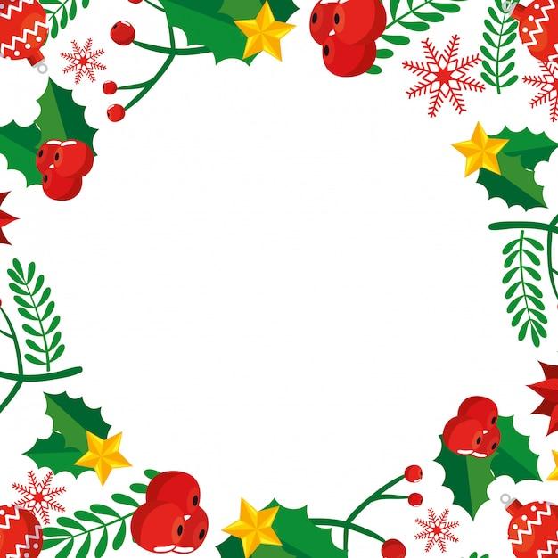 Cadre De Noël Avec Feuilles Et Décoration Vecteur gratuit
