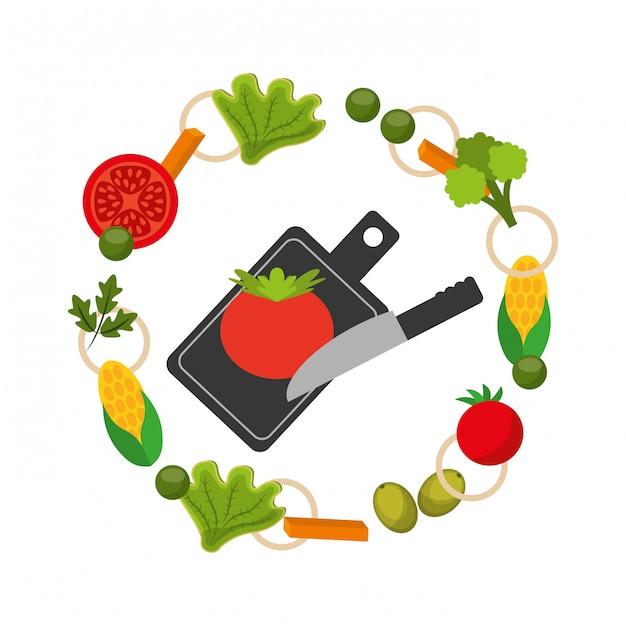 Cadre de la nourriture saine Vecteur gratuit