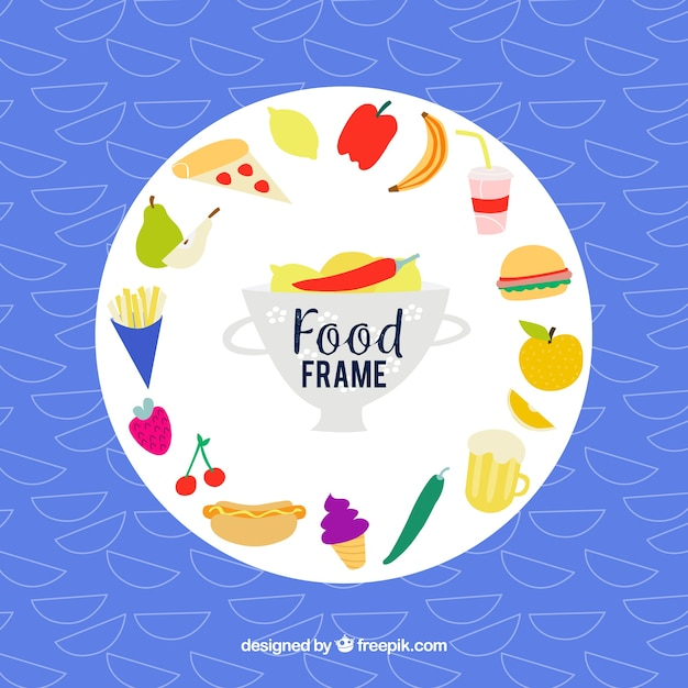 Cadre de nourriture avec style dessiné à la main Vecteur gratuit