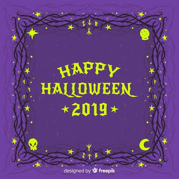 Cadre De Nuit étoilée Halloween Vintage Vecteur gratuit