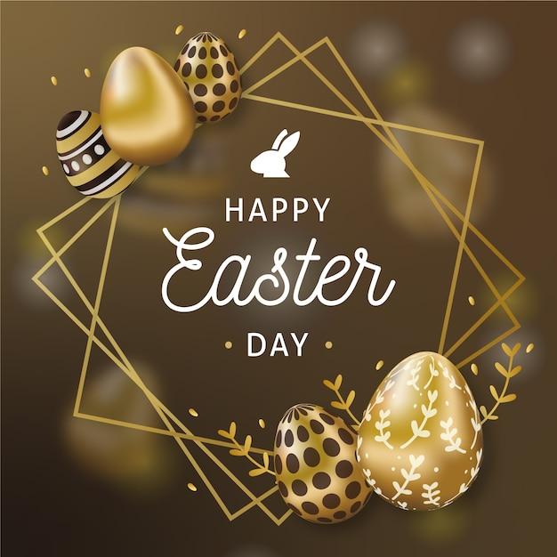 Cadre Et Oeufs D'or Joyeuses Pâques Vecteur gratuit