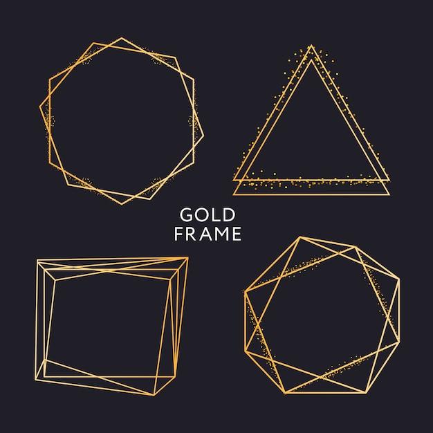 Cadre en or décor isolé dégradé métallique doré brillant Vecteur Premium