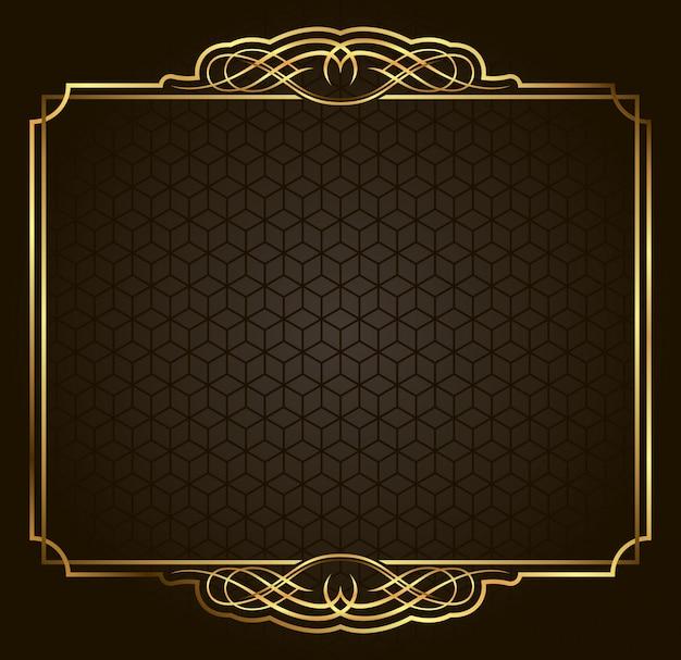 Cadre or vector calligraphique rétro sur fond sombre. élément de design premium Vecteur Premium