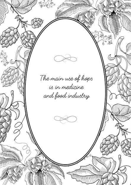 Cadre Ovale De Couleur Noire Avec Composition De Houblon Avec Baies, Fleurs Et Autres Gribouillis Décoratifs Vecteur gratuit