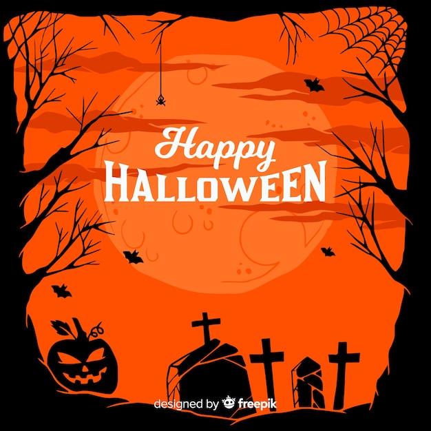Cadre de paysage de cimetière halloween dessiné à la main Vecteur gratuit