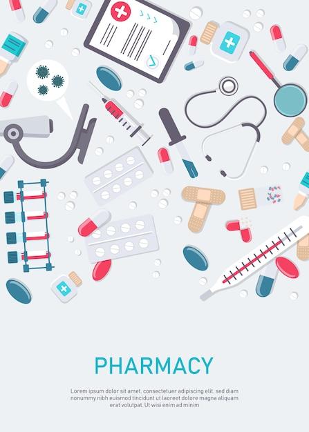 Cadre De Pharmacie Avec Des Pilules, Des Médicaments, Des Bouteilles Médicales. Illustration Plate De Pharmacie. Bannière De Médecine Et De Soins De Santé, Fond D'affiche Avec Espace De Copie. Vecteur Premium