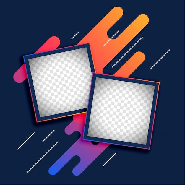 Cadre photo abstrait pour livre de mémoire Vecteur gratuit