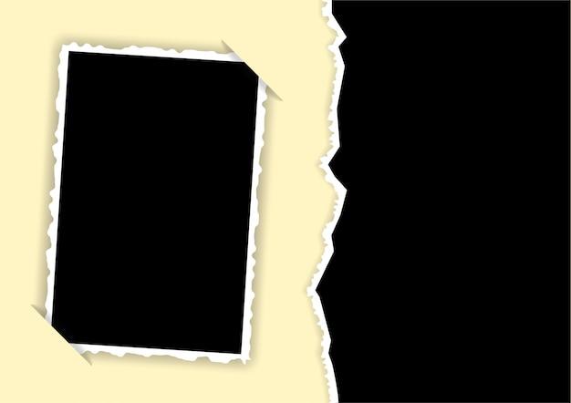 Cadre photo avec bords déchirés et gabarit d'angles cachés pour un collage Vecteur Premium
