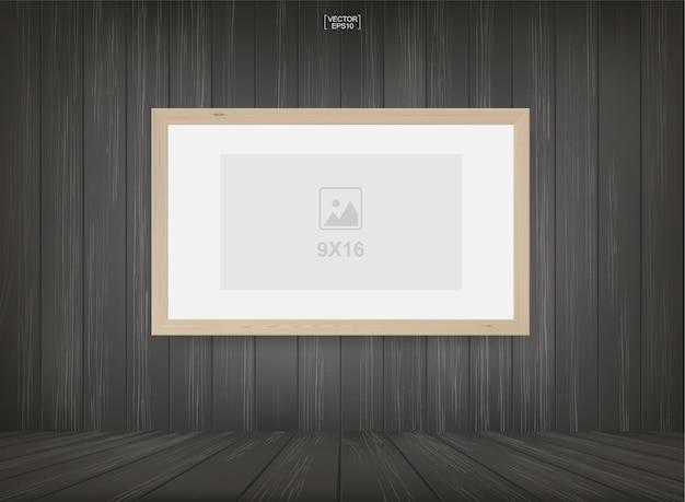 Cadre Photo Dans Le Fond De L'espace Salle En Bois. Vecteur Premium