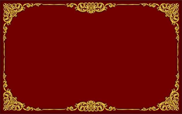 Cadre photo doré avec bordure de style thaï Vecteur Premium