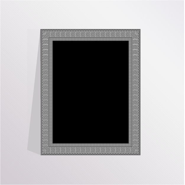 Cadre photo élégant en argent avec fond gris Vecteur Premium