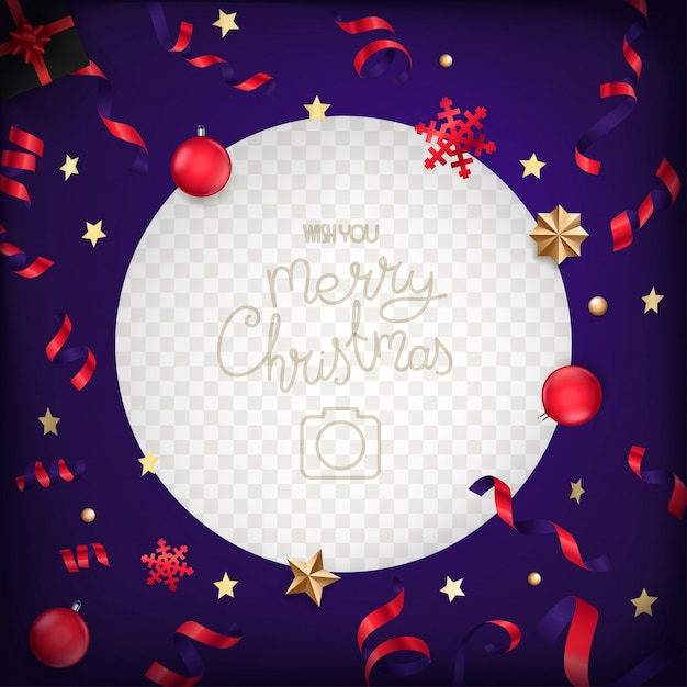 Cadre Photo Avec Des éléments De Noël Et Des Confettis Vecteur Premium