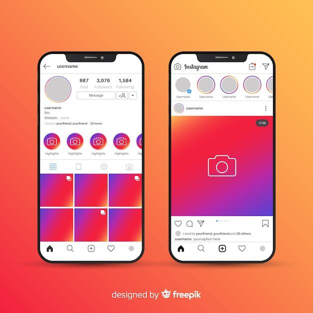 Cadre photo instagram réaliste sur iphone collection Vecteur gratuit