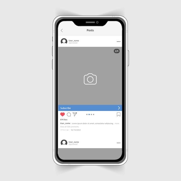 Cadre Photo Instagram Réaliste Sur Iphone. Vecteur Premium