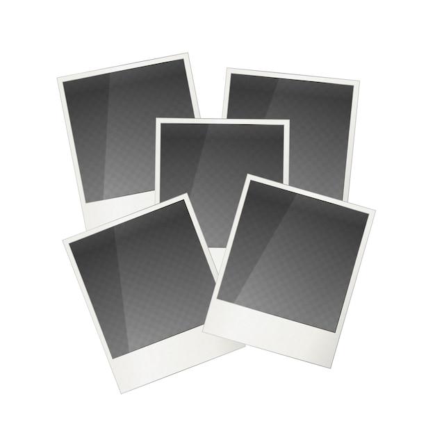 Cadre photo polaroid réaliste cinq isolé Vecteur Premium