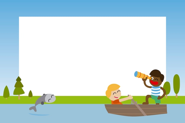 Cadre photo pour les enfants avec des amis naviguant dans un bateau Vecteur Premium