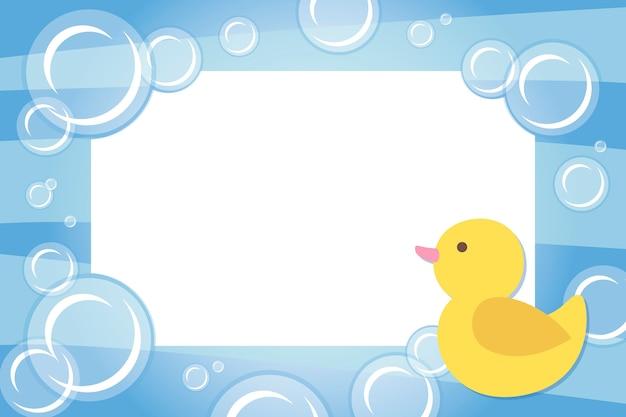 Cadre photo pour enfants avec canard en caoutchouc Vecteur Premium