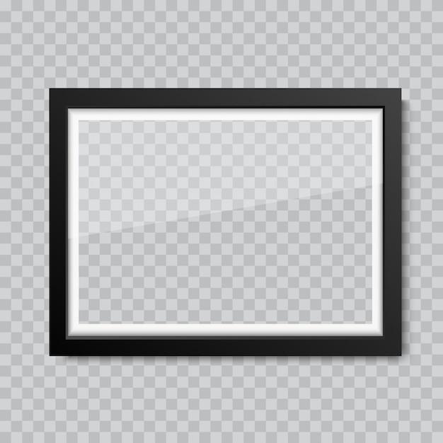 Cadre photo ou verre blanc réaliste Vecteur Premium