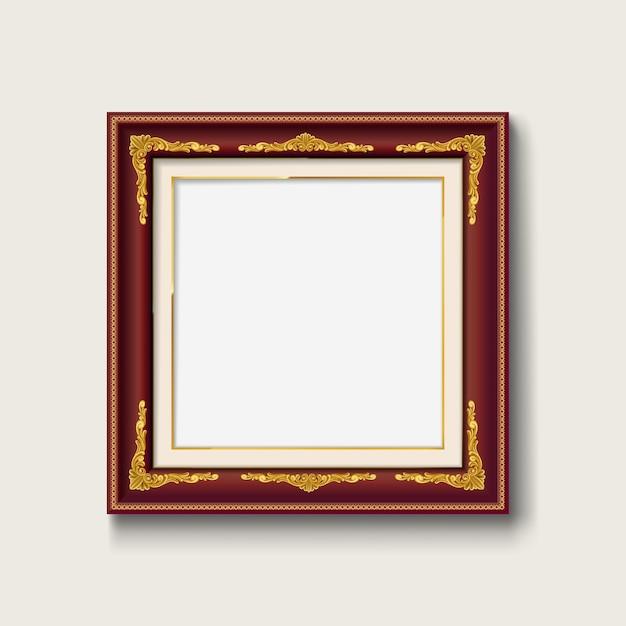 Cadre Photo Vintage Bois Rouge Et Or Vecteur Premium