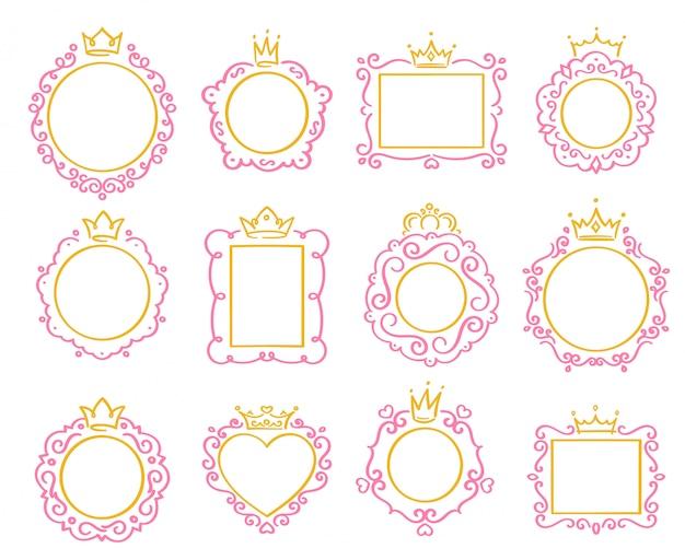 Cadre Princesse. Bordure De Couronne Mignonne, Cadres De Miroir Royal Et Jeu De Frontières Majestueuses Prince Doodle Vecteur Premium