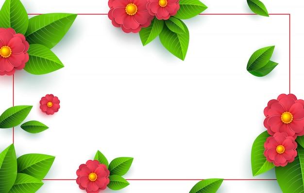 Cadre De Printemps Avec Fleur Coupée En Papier Vecteur Premium