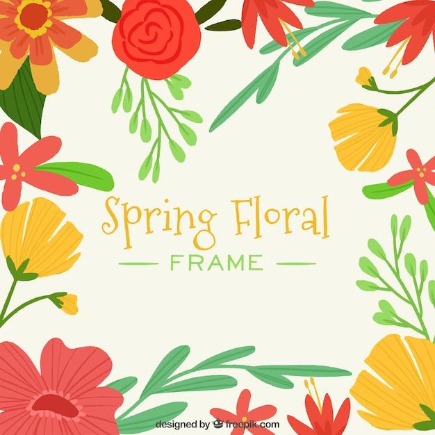 Cadre de printemps floral avec des couleurs chaudes   Télécharger ...
