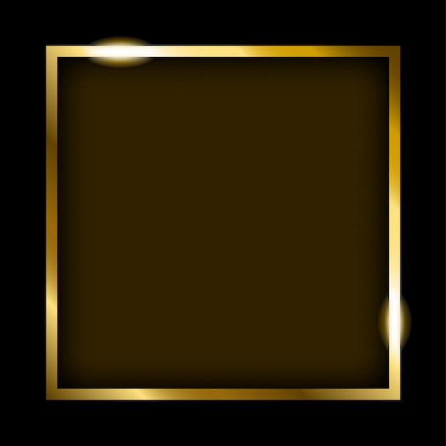 Cadre rectangle doré Vecteur Premium