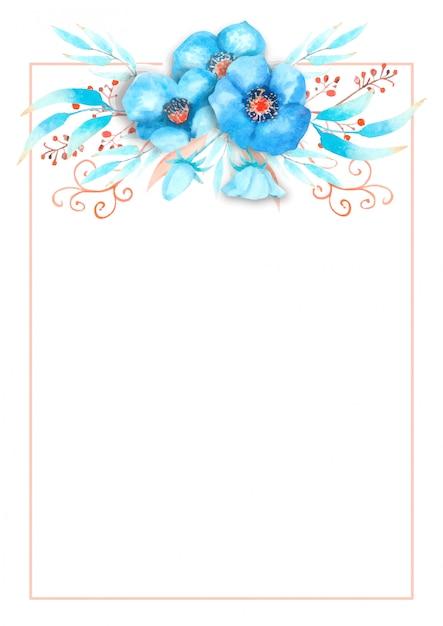 Cadre romantique avec fleurs d'hellébore bleues, bourgeons, feuilles, brindilles décoratives sur un fond aquarelle Vecteur Premium