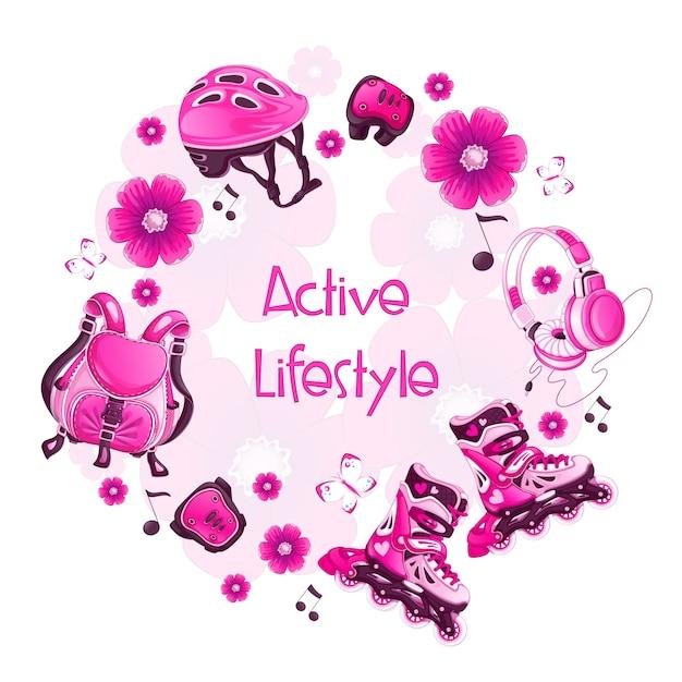 Cadre rond avec accessoires de sport floraux roses. patins à roulettes Vecteur Premium