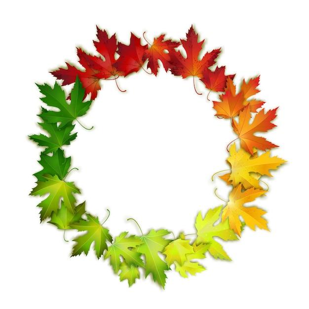 Cadre rond avec des feuilles d'automne colorés Vecteur Premium