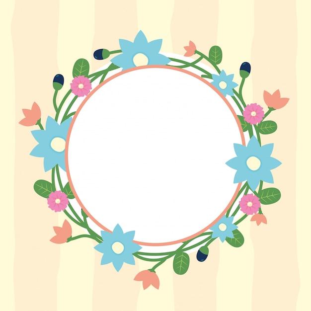 Cadre rond de fleurs floral avec cercle blanc pour insérer une illustration de texte fleurs bleu Vecteur gratuit