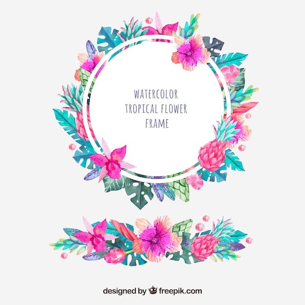 Cadre rond de fleurs et d'ornement d'aquarelle tropicale Vecteur gratuit