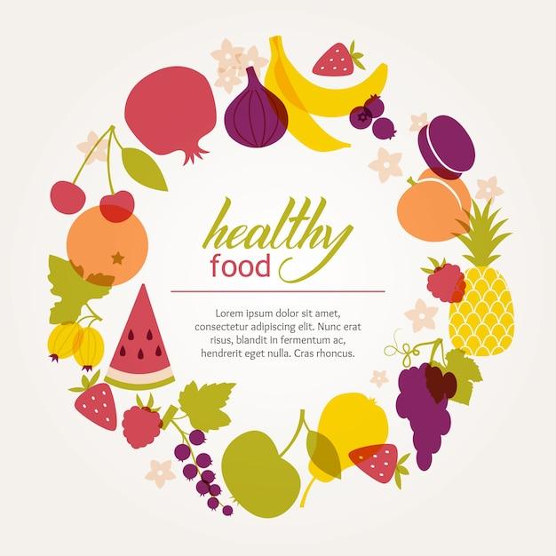 Cadre Rond De Fruits Juteux Frais. Une Alimentation Saine, Végétarienne Et Végétalienne. Vecteur gratuit