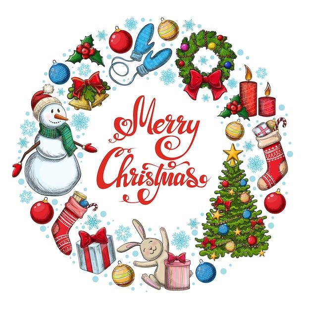 Cadre Rond Avec Des Icônes De Noël. Illustration De Noël De Style Croquis Coloré Pour La Décoration. Vecteur Premium