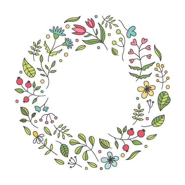 Cadre Rond Mignon De Belles Fleurs De Printemps Sur Fond Blanc Vecteur Premium