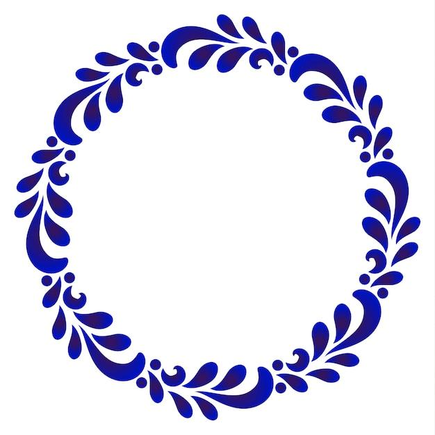 Cadre rond ornemental bleu avec congé Vecteur Premium