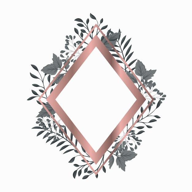 Cadre rose doré à feuilles grises Vecteur gratuit