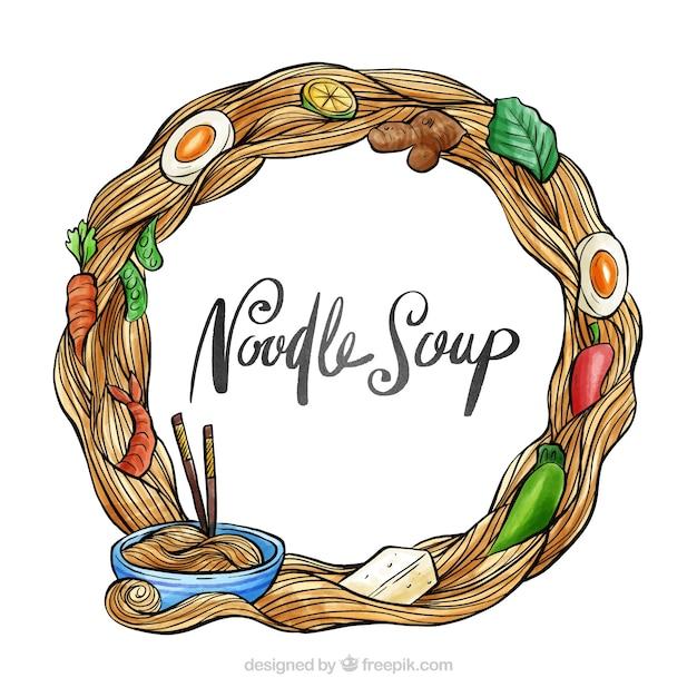 Cadre de soupe aquarelle et nouilles Vecteur gratuit