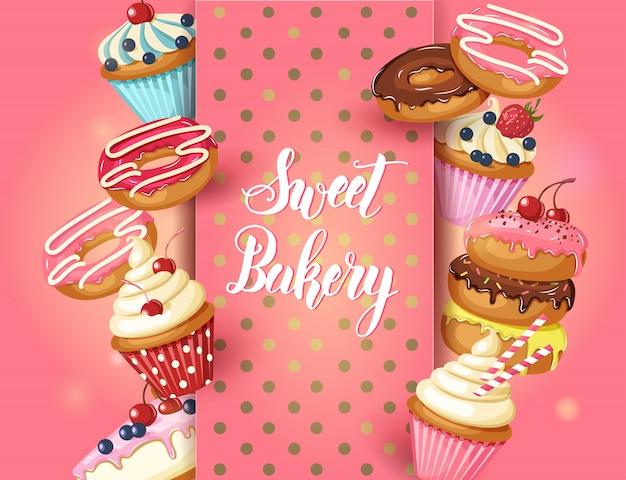 Cadre sweet bakery avec beignets glacés, gâteau au fromage et petits gâteaux à la cerise, fraises et myrtilles Vecteur Premium