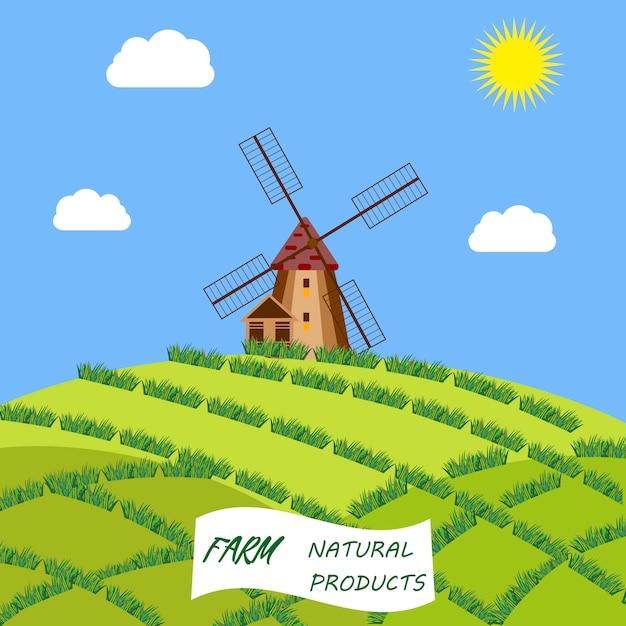 Cadre de symboles culturels et touristiques de holland travel avec sabots et moulins à vent en bois tulipes Vecteur Premium