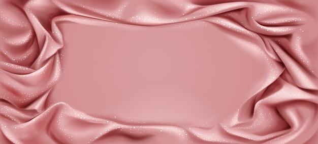 Cadre textile plié de luxe avec centre lisse Vecteur gratuit