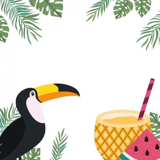 Cadre de toucan et fleur d'été Vecteur gratuit