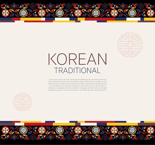 Cadre traditionnel coréen Vecteur Premium